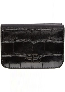 Balenciaga Black Croc Mini BB Mono Wallet