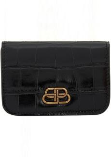 Balenciaga Black Croc Mini BB Wallet
