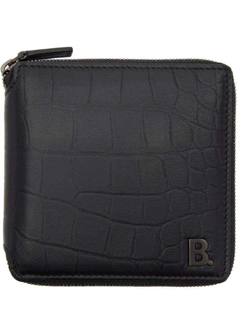 Balenciaga Black Croc Square Wallet