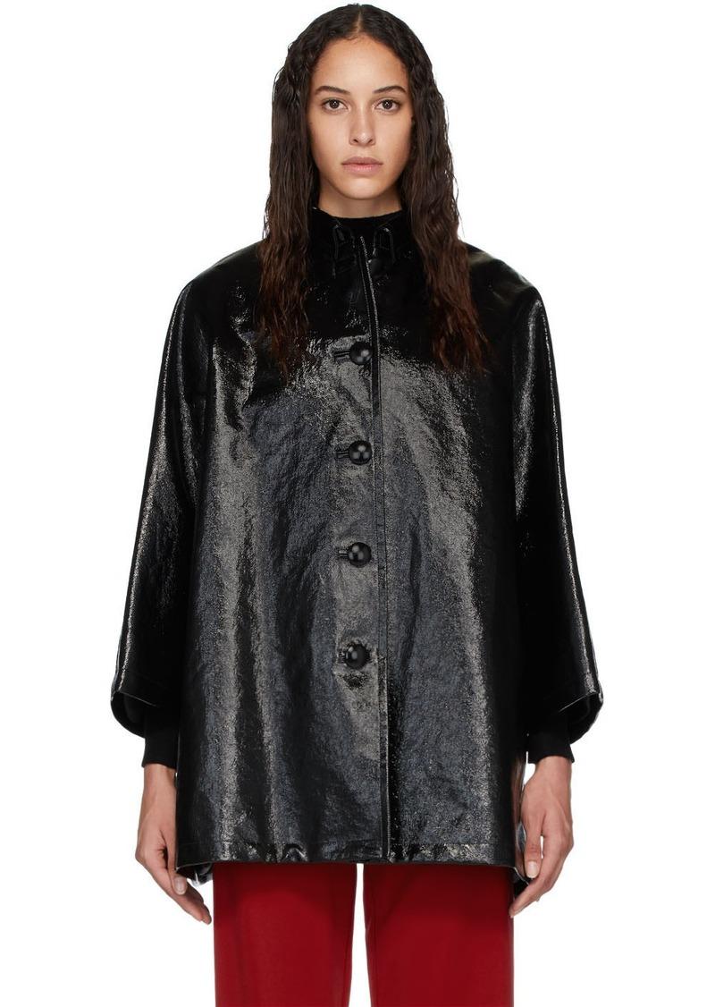 Balenciaga Black Denim Coated Opera Coat