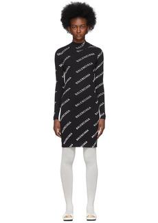 Balenciaga Black Diagonal Logo Dress