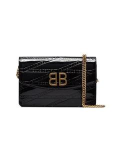 Balenciaga black embossed branding patent leather cross body bag