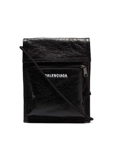 Balenciaga black Explorer Arena cracked leather messenger bag
