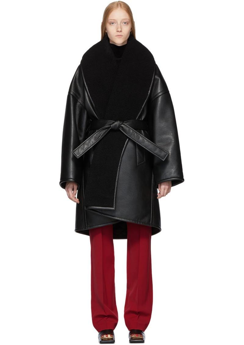 Balenciaga Black Faux-Leather Light Cocoon Coat