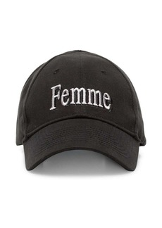 Balenciaga black femme embroidered baseball cap