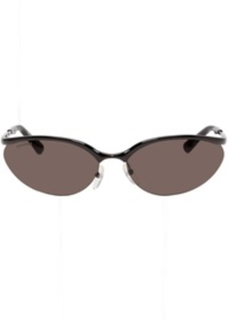 Balenciaga Black Fire Rectangular Sunglasses