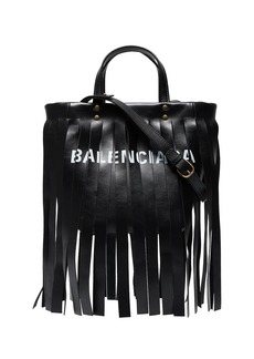 Balenciaga Black Fringed Logo Leather Tote