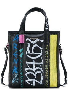 Balenciaga black Graffiti Bazar Shopper Mini Tote Bag