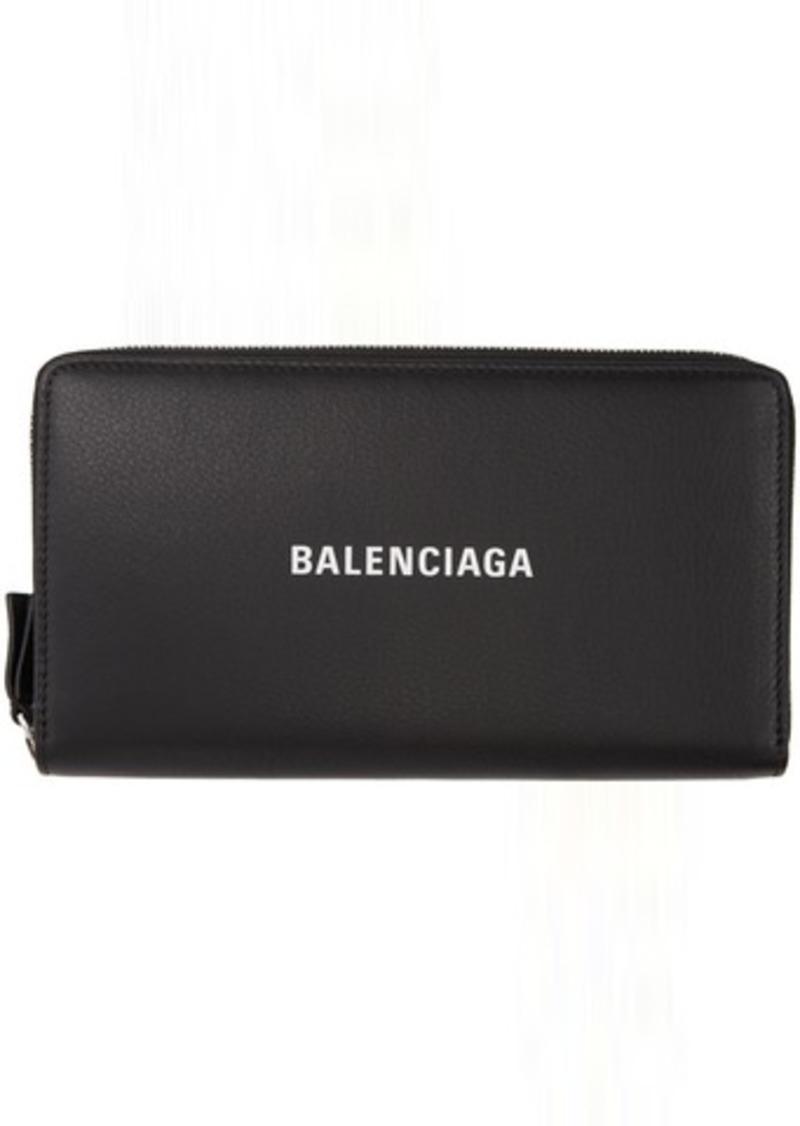 Balenciaga Black Grained Everyday Continental Wallet