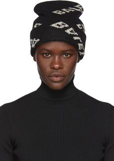 Balenciaga Black Jacquard Logo Beanie