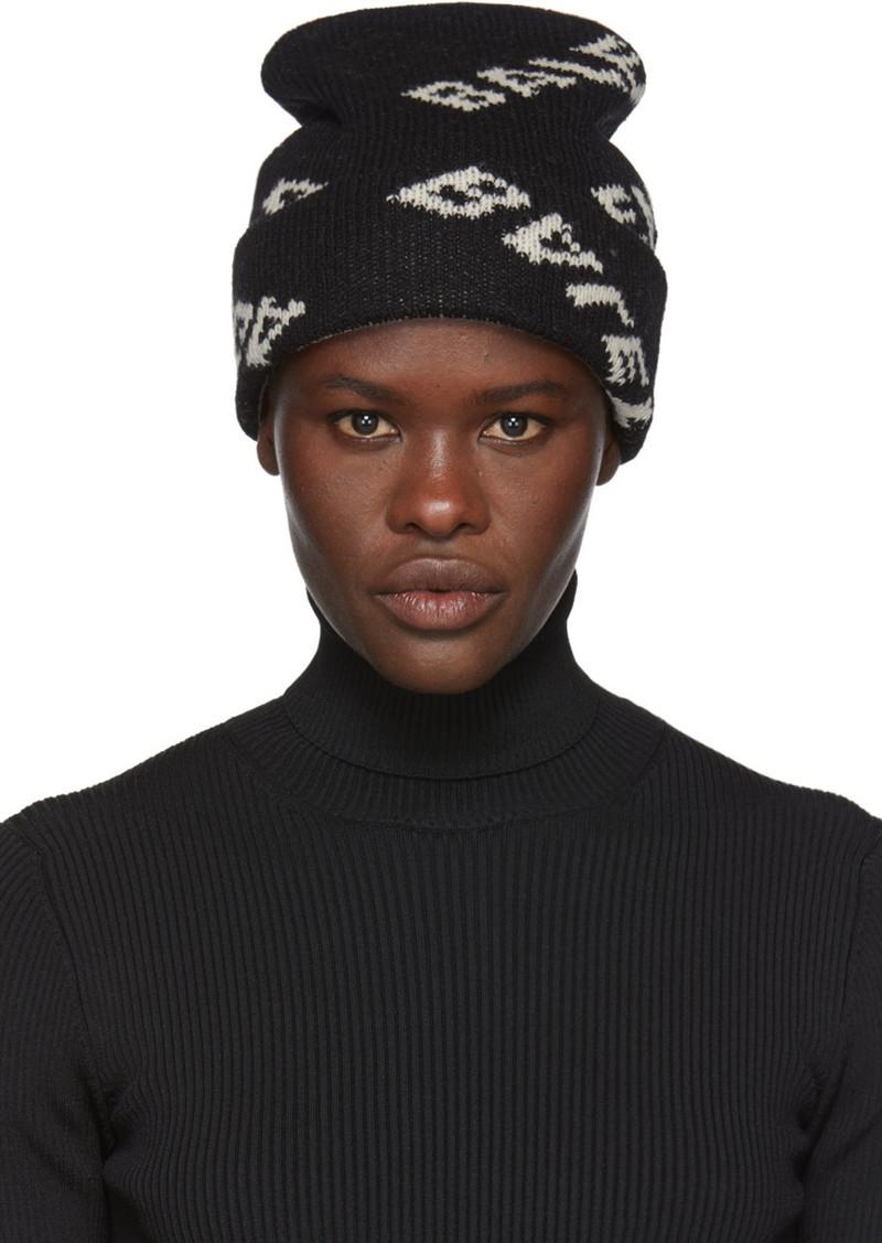 8f56e46d4c141 Balenciaga Black Jacquard Logo Beanie Now  230.00