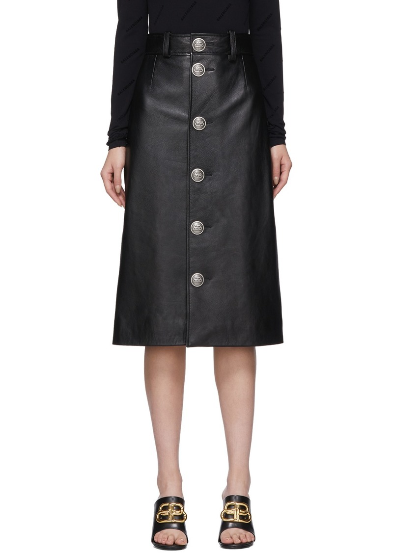 Balenciaga Black Leather Button-Down Skirt
