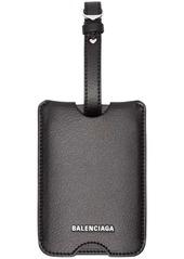 Balenciaga black leather luggage label