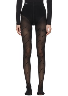 Balenciaga Black Logo All Over Flock Tights