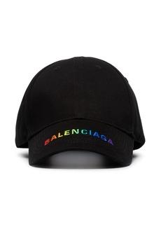 Balenciaga black logo embroidered cotton baseball cap