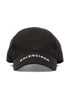 Balenciaga black logo embroidered cotton cap