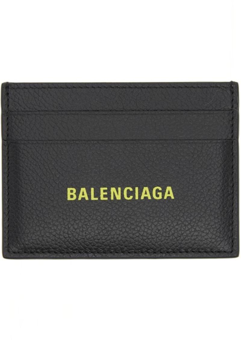 Balenciaga Black Logo Stamp Card Holder
