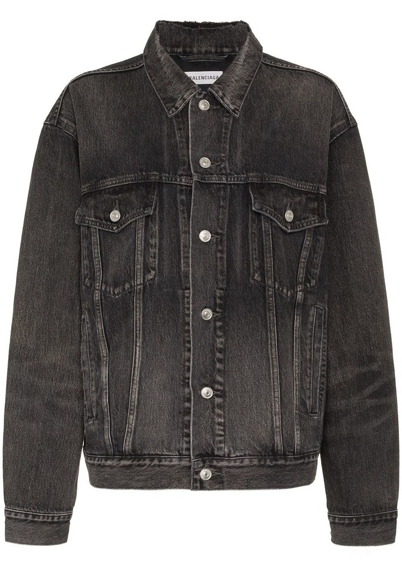 Balenciaga long sleeve logo print denim jacket