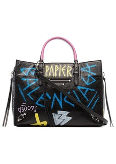 Balenciaga black Paper Graffiti Leather Bag