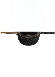 Balenciaga Black Quilted Velvet XXS Logo Souvenir Bag