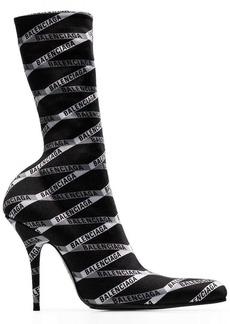 Balenciaga black Round 110 monogram print boots