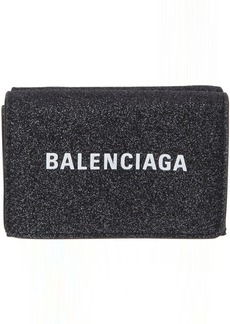 Balenciaga Black Shimmer Mini Everyday Wallet