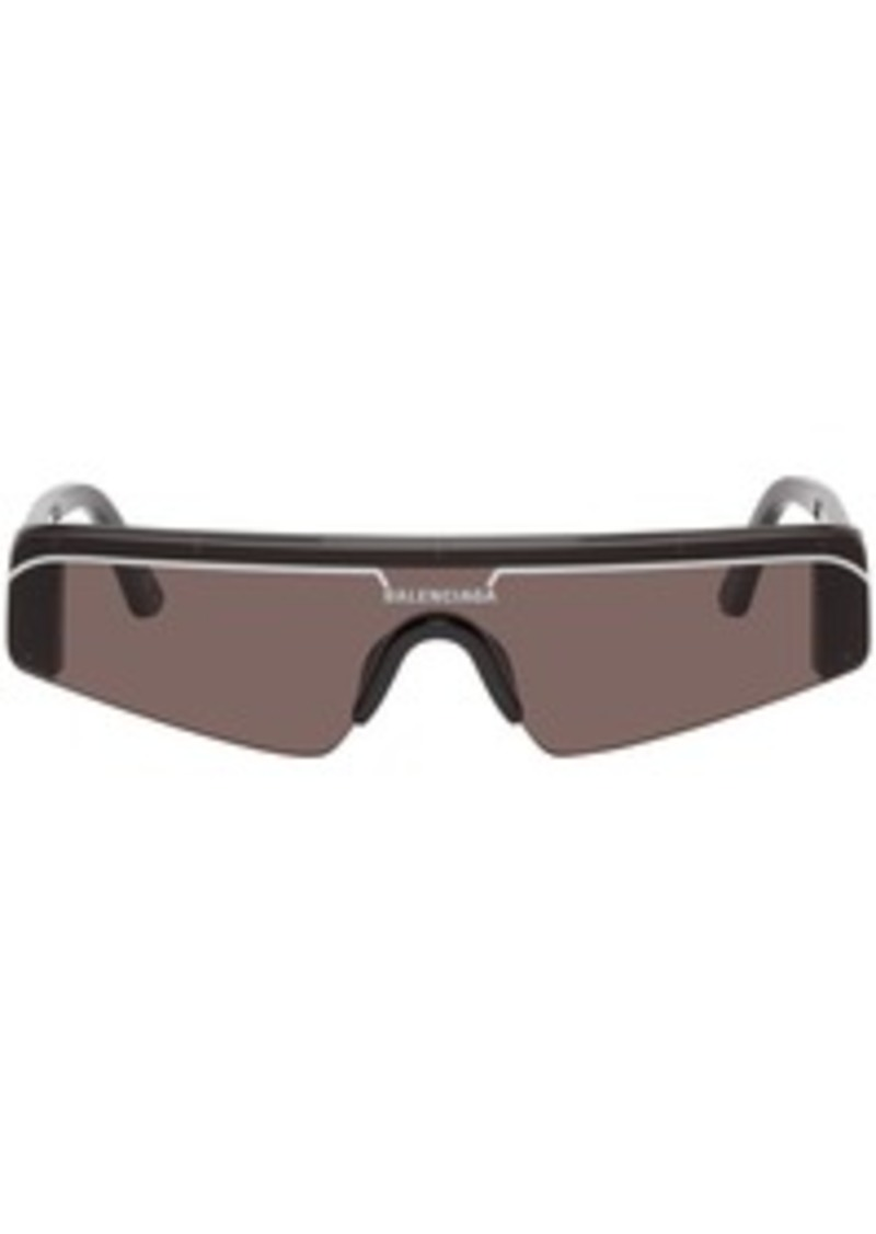 Balenciaga Black Skinny Rectangular Ski Sunglasses