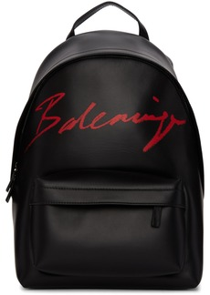 Balenciaga Black Small Script Logo Everyday Backpack