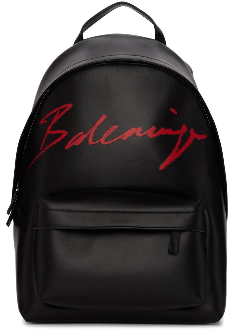 Balenciaga Black Small Script Logo Everyday Backpack