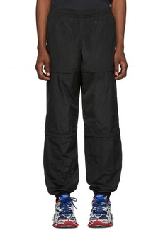 Balenciaga Black Technical Micro Faille Zipped Track Pants