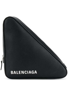 Balenciaga black Triangle Medium leather clutch