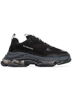 Balenciaga black Triple S clear sole sneakers