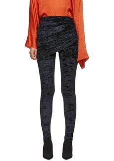 Balenciaga Black Velvet Draped Front Leggings