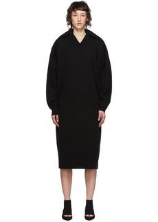 Balenciaga Black Wool Pinched Shoulder Dress