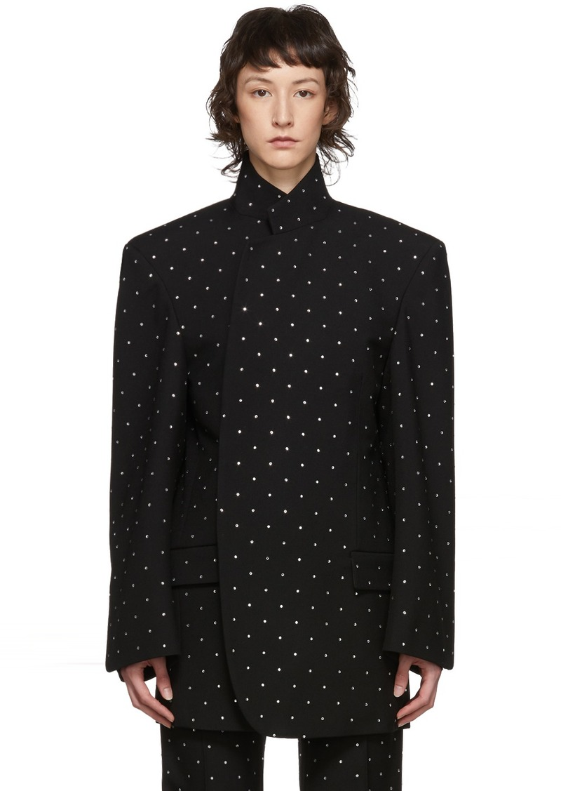 Balenciaga Black Wool Strass Shifter Blazer