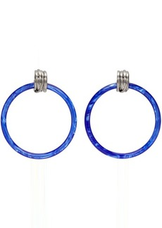 Balenciaga Blue & Silver Medium Hoop Earrings