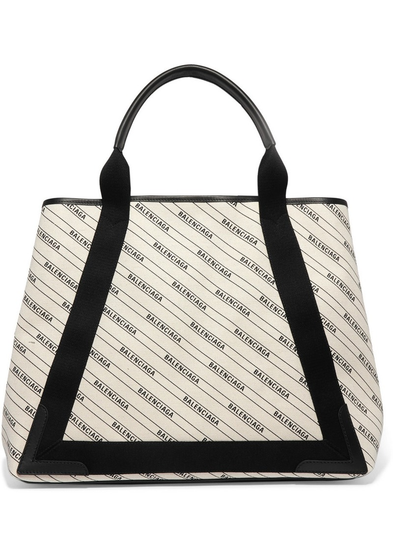 Balenciaga Cabas Medium Leather-trimmed Printed Canvas Tote