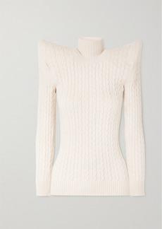 Balenciaga Cable Knit-effect Velvet Turtleneck Sweater