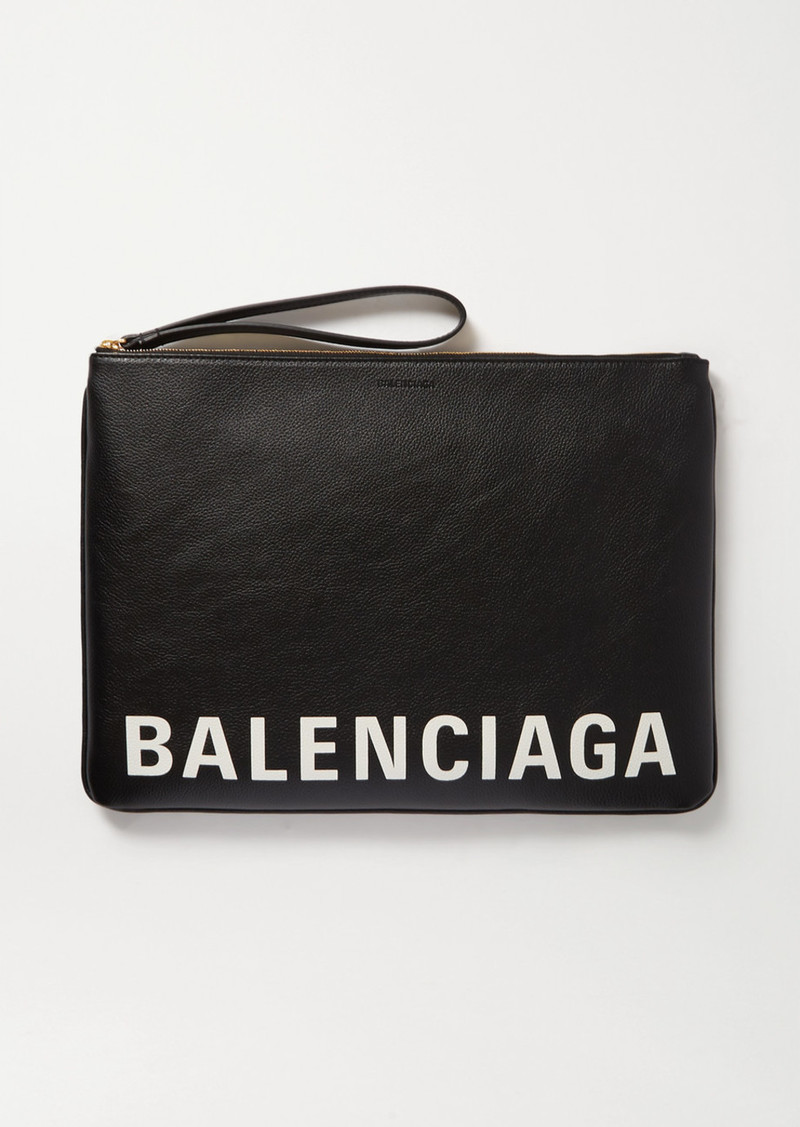 Balenciaga Cash Printed Textured-leather Pouch
