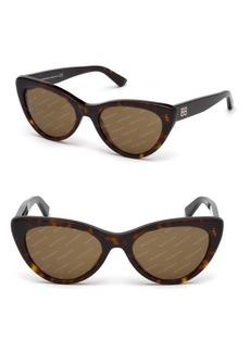 Balenciaga 54MM Cat Eye Havana Acetate Logo Sunglasses