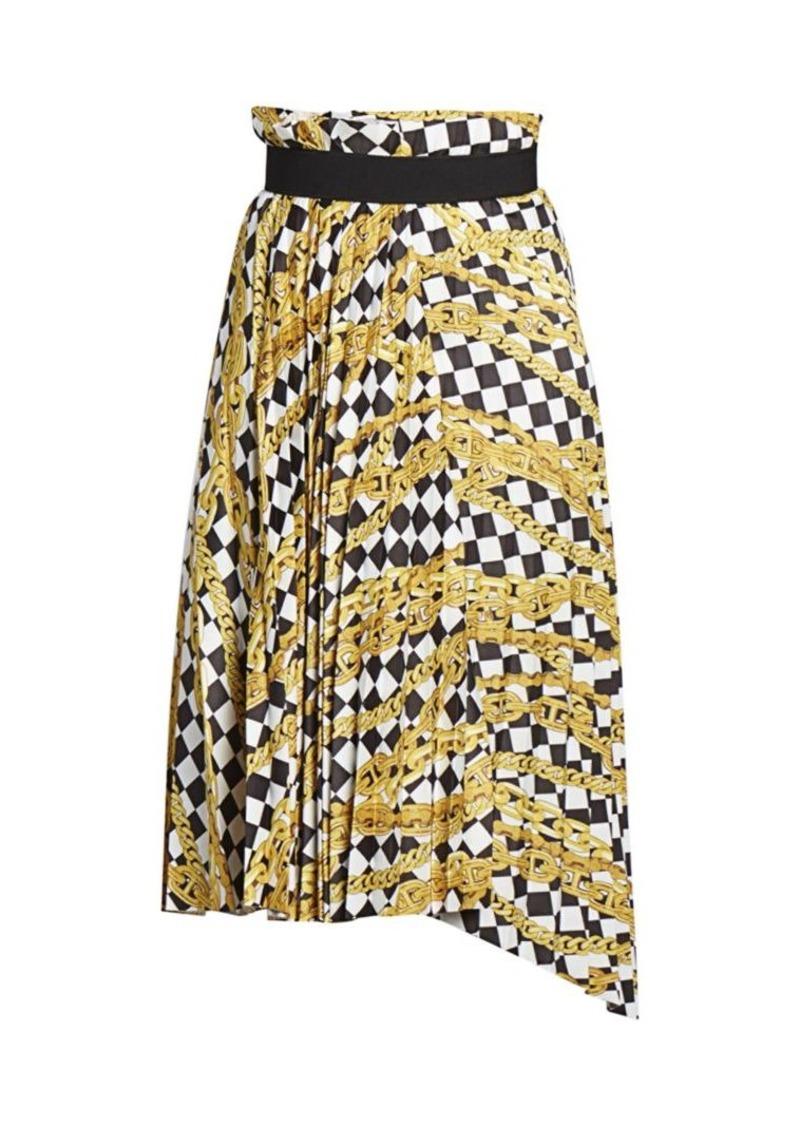 Balenciaga Chain Print Pleated Skirt