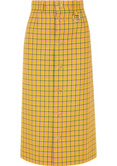 Balenciaga Checked Wool Midi Skirt