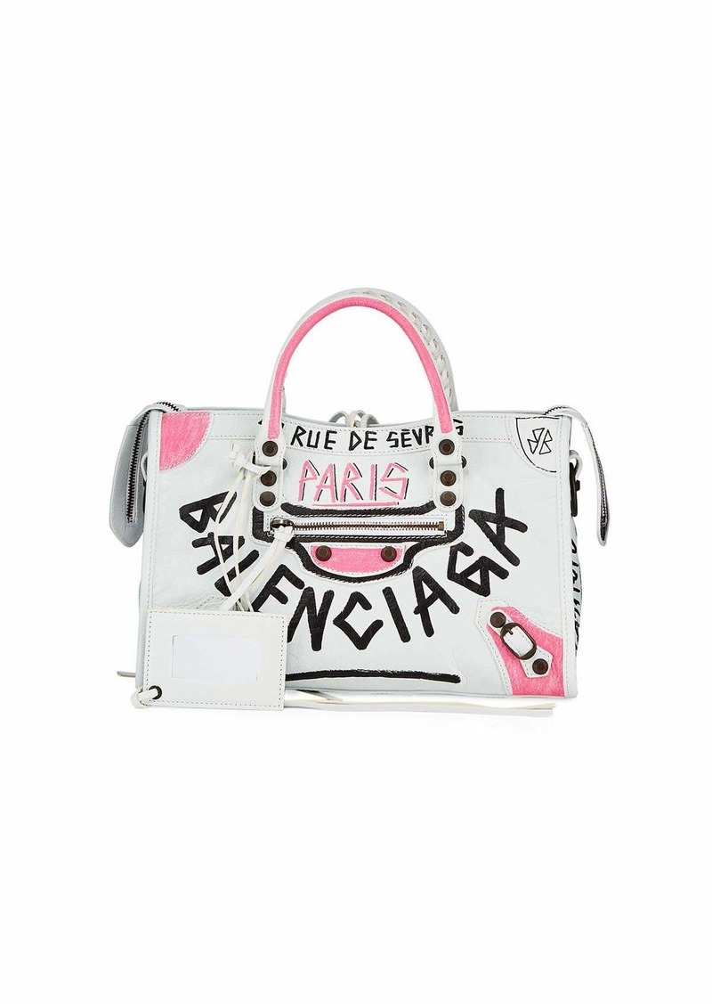Balenciaga Classic City AJ Graffiti Leather Tote Bag
