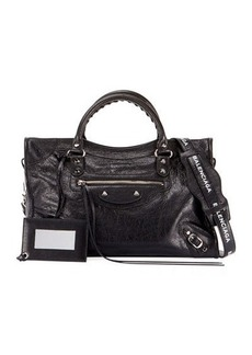Balenciaga Classic City Leather Tote Bag with Logo Strap