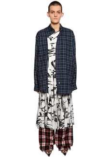 Balenciaga Cotton Flannel & Silk Jacquard Dress