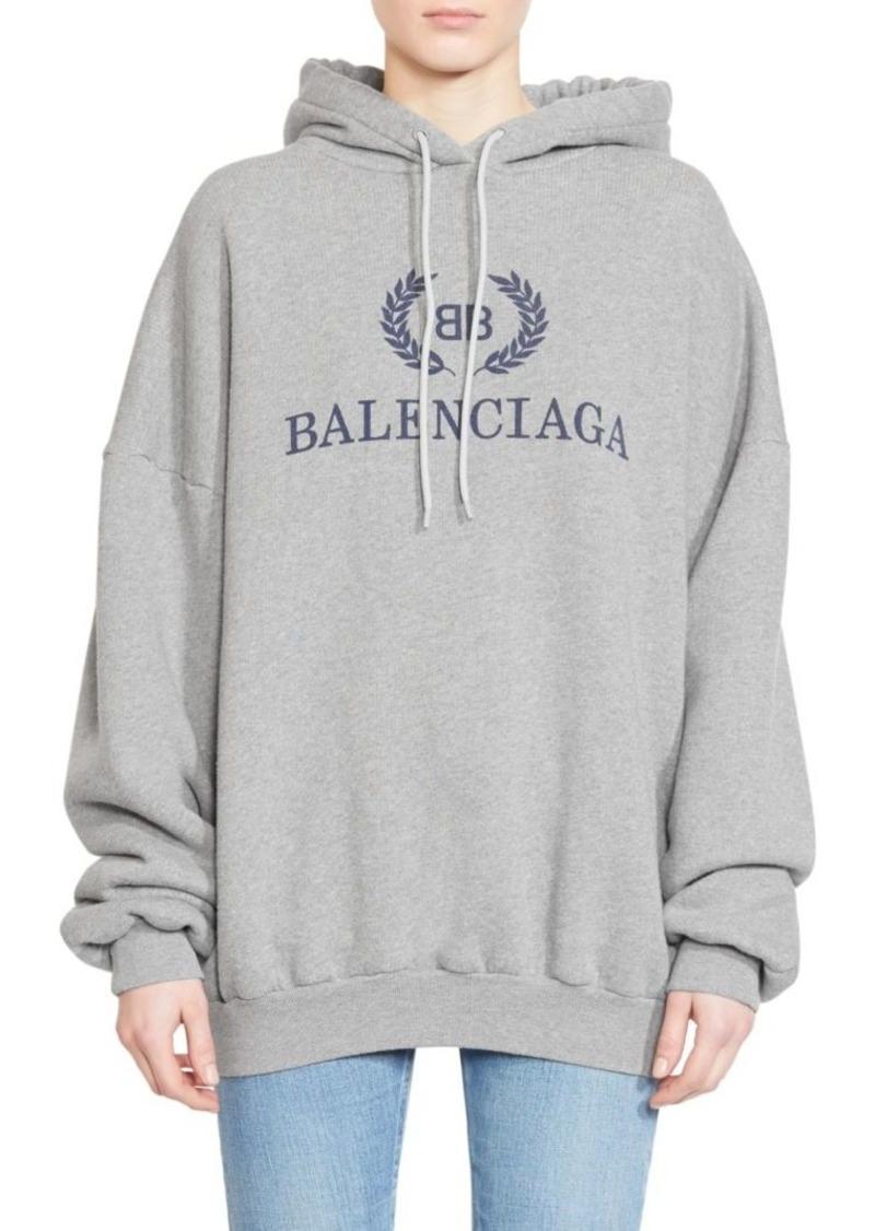 Balenciaga Cotton Jersey Logo Hoodie