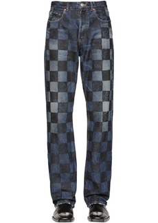 Balenciaga Crafted Checkered Cotton Denim Jeans