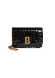 Balenciaga Crocodile Embossed Leather Crossbody Bag