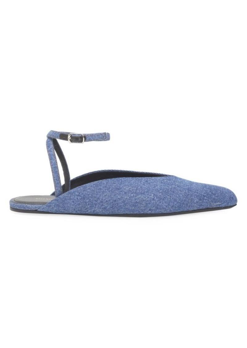Balenciaga Ankle-Strap Denim Flats