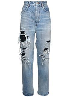 Balenciaga Destroyed Cotton Denim Jeans W/logo